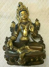 statue bouddhiste bronze bouddha deesse  tara verte  tibet nepal