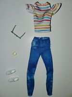 Barbie Fashionista 132 Doll Outfit Rainbow Shirt +Jeans +Shoes +Glasses++ Casual