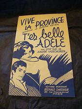 Partition Vive la province Astier T'es belle Adèle Verchuren Music Sheet