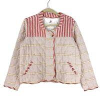 Anthropologie DRA Womens Carlota Quilted Jacket Beige Pink Stripe Zip Pocket XS