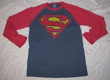MEDIUM 38/40 DC COMICS MENS T-SHIRT JUSTICE LEAGUE SUPERMAN STEEL LONG-SLEEVE MD