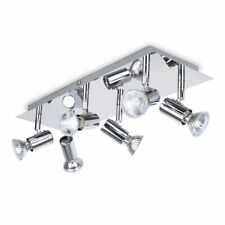 MiniSun Modern Rectangular Silver Chrome 6 Way Adjustable Gu10 Ceiling Spotlight