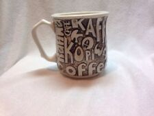 Vintage Coffee Cafe Kaffe Kawa Kahvi Brown Lettering Ceramic Mug ME