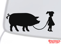 GIRL WALKING A PIG Vinyl Decal Sticker Car Window Bumper Funny Pet Farm Animal
