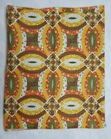 Vintage Calico Print Patchwork Fabric Harvest Yellow Green Orange 43 x 67 Retro