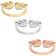 Filigree Angel Wings Adjustable Ring Solid Yellow White Rose Gold Dainty