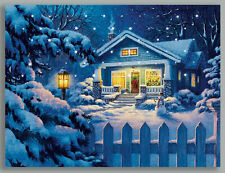 LED Light Up Quality Christmas Snow Winter Scene Picture/Canvas Size 40 x 30cm
