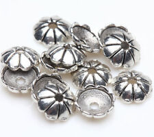 100 Tibetan Silver Flower Carving Bead Cap Charm Jewelry Finding Making 6mm DIY