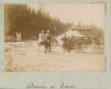 Norvège, arrivée à Leren, carriole Norvégienne   vintage albumen print,Photos