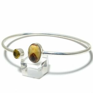 Septarian Stone, Citrine Gemstone Handmade 925 Silver Cuff Bracelet Adjustable