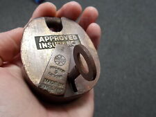 Antique  Brass Padlock 5 lever Approved Insurance with original key