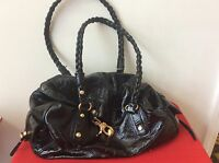 FRANCESCO BIASIA Black Leather Shoulder Bag Satchel Purse (P7)