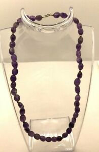 """Amethyst Beaded Strand Necklace With 925 Silver Accents & Clasp Measures 16"""""""