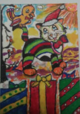 Original ACEO Cat Bird Christmas Art Painting by Marilyn