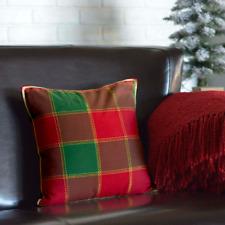 "Tristan Windowpane Plaid Holiday Toss Pillow 16""x16"" Christmas Pillow Red+Green"