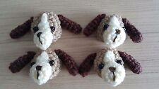 4 PCs Handmade Crochet Dog Face Mini Head Appliques DIY Yarn Knitting