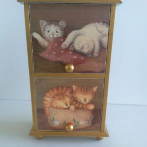 Small 2 Drawer Cabinet With Cat Design