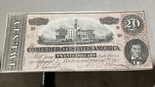 1864 $20 Dollar Confederate States Currency Civil War Note Old Paper Money