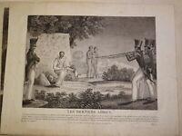 Gravure Epoque EMPIRE SCENE FUSILLADE MILITAIRE MACABRE ROMANTISME NAPOLEON 1815
