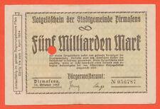 Pirmasens  Stadtgemeinde 5 Milliarden Mark 10.10.1923  Keller: 4313aa (512