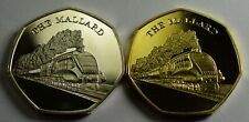 Pair of THE MALLARD Steam Engine Collectable Medals/Tokens, Silver & 24ct Gold