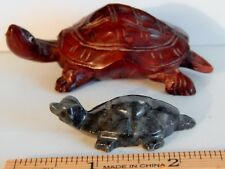 Rare Lot Of 2 Hand Carved Turtles, One Asian, One Mexican, Good Luck Pieces