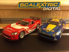 Scalextric Digital x2 Dodge Vipers Working Front & Rear Lights Good Condition