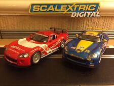 Scalextric Digital x2 Dodge Viper en funcionamiento luces delanteras y traseras Buen Estado