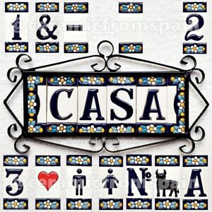 Spanish Ceramic tile letters - House ceramic numbers - Numbers and Letters -
