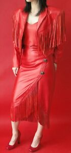 RED LEATHER  SUIT -  FRINGED JACKET, BUSTIER  and LONG SKIRT - SIZE S 8
