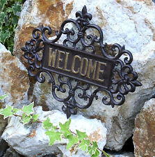 Welcome quote wall plate cast iron door plate Entrance Relief Willkommen English