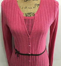 SIGRID OLSEN 2 Piece Sweater Cardigan Tank Shell Silk Blend Petite Small Pink