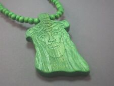 "Christian Pendant ""Face of Jesus"" Beads 33"" All-Wood Necklace GREEN Low Stock!"