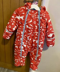 Baby Boden Red Floral Warm Hooded Winter Snowsuit All In One Coat 12-18 Months