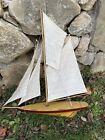 Vintage Wood Pond Model Yacht Ship Boat Sailboat Nautical Coastal Schooner