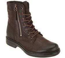 Miz Mooz Charlie Graphite Leather Lace-Up Ankle Combat Millitary Ankle Boots