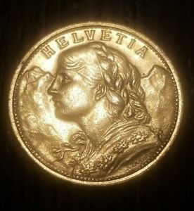 "SWISS HELVETIA GOLD COIN - 1947B - 20 FRANC - ""SWISS MISS""- No Reserve Coin"