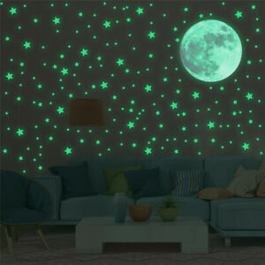 303pcs Glow In The Dark Luminous Stars Moon Wall Stickers Ceiling Bedroom Décor
