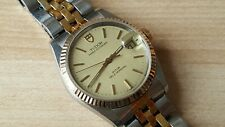 Men's Stainless Steel / Gold Quick Set Rolex Tudor Prince Oysterdate Automatic B