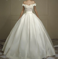 Princess Off-Shoulder Ball Gown Lace Wedding Dress Satin Bridal Gown Custom Size
