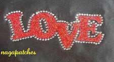Motif à floquer / Patche strass & glitter thermocollant LOVE transfert DIY