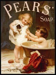 Pears' Soap, Bathroom Showeroom Vintage Advitising Medium Metal Tin Sign Picture