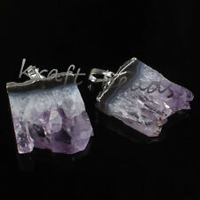 Silver Plated Natural Amethyst Druzy Quartz Crystal Gemstone Pendant Jewelry