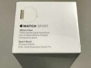Apple Watch Sport 38mm Gold Aluminum Case Antique White Sport Band MLCJ2LL/A New