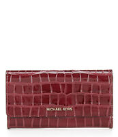 Michael Kors Jet Set Large Berry Red Croc Embossed Leather Trifold Wallet NWT