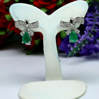 NATURAL 5 X 7mm. PEAR GREEN EMERALD & WHITE CZ EARRINGS 925 STERLING SILVER