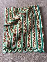 "Vintage Afghan Blanket Throw Crochet Green White Yellow Red Sz 50x45"""