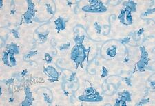 Beatrix Potter Fabric Benjamin Bunny and all his Friends Blue Filigree - BTY