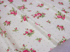 "Cottage Chic Victoria Shabby Pink Roses on Cream w/gr dots Fabric BTHY ~42"" wide"