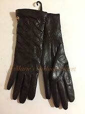 Sz M Women's UGG Australia Leather Pin-tuck Cashmere Blend Lining Gloves Brown